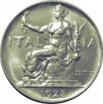 R/ Casa Savoia. Vittorio Emanuele III. 1 Lira 1928 Italia Seduta. FDC. Di grande freschezza e lucentezza del metallo. Insignificanti segnetti di contatto. NC.rf