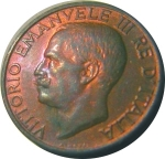 D/ Casa Savoia. Vittorio Emanuele III. 10 Centesimi 1935 FDC. Rame rosso, Eccezionale ramatura al rovescio.
