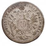 R/ Monete Estere - Austria. Francesco Giuseppe. 10 Kreuzer 1870. Ag. BB-SPL. Patina.