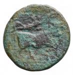 R/ Varie -Campania. III° sec a.C. Litra. Ae da identificare. D/ Testa di Apollo a sinistra.R/ Toro androcefalo a destra. Peso gr. 4.44. Patina verde.