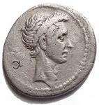 D/ Varie -Divus Julius Caesar. Q. Voconius Vitulus, questore. 40 a.C. Denario. Ag. D/ Testa coronata di Cesare a destra. R/ Bovino avanza a sinistra. Crawford 526/04; CRI 331; Sydenham 1133; RSC 45. Peso gr. 3,68. qBB-BB. R.