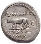 R/ Varie -Divus Julius Caesar. Q. Voconius Vitulus, questore. 40 a.C. Denario. Ag. D/ Testa coronata di Cesare a destra. R/ Bovino avanza a sinistra. Crawford 526/04; CRI 331; Sydenham 1133; RSC 45. Peso gr. 3,68. qBB-BB. R.