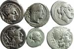 D/ Lotti. Repubblica Romana. Lotto di 6 monete in Argento, 5 denari + 1 quinario tutte classificabili e perfettamente leggibili, ex Tintinna 66. Mediamente BB.