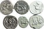 R/ Lotti. Repubblica Romana. Lotto di 6 monete in Argento, 5 denari + 1 quinario tutte classificabili e perfettamente leggibili, ex Tintinna 66. Mediamente BB.