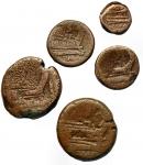 R/ Lotti - Repubblica Romana. Lotto di 5 esemplari in Ae da identificare.