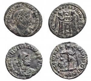 D/ Lotti - Mondo Romano. Costantino e Valentiniano. Lotto di 2 bronzetti da catalogare. Peso gr. 2,59 e Peso gr. 1,92.