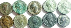 D/ Lotti. Impero Romano. Lotto di 10 Assi e dupondi da Marco Aurelio a Clodio Albino e Alessandro Severo, Presente anche Giulia Maesa. Mediamente BB\BB+.