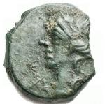 D/ Celti - Gallia. Massalia.ca 120-49 a.D. Bronzo con toro. D/ Testa di Apollo a sinistra. R/ ΜΑΣΣΑ // Λ. Toro a destra. Peso gr. 1,77.LT.-BN.1675-MHM.63/3. SPL. Bellissima patina verde smeraldo. R.