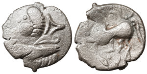 obverse image: EASTERN CELTS. 3rd-2nd century BC. Tetradrachm. Silver, 24,9 mm - 8.15 gr.  Kugelwange  type. O:\ Celticized laureate head of Zeus to right. R:\ Horse galloping left; above, circlet; below, cross. Flesche 615 var. Göbl OTA pl. 17, 193/3. Lanz 466. VF