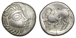obverse image: EASTERN EUROPE. Imitations of Philip II of Macedon (2nd-1st centuries BC). Drachm. Mint in the region of  Velem, Hungary.