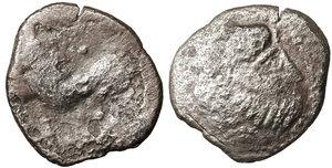 obverse image: EASTERN CELTS. 3rd-2nd century BC. Tetradrachm. Silver, 26,2 mm - 9.20 gr.  Kugelwange  type. O:\ Celticized laureate head of Zeus to right. R:\ Horse galloping left; above, circlet; below, cross. Flesche 615 var. Göbl OTA pl. 17, 193/3. Lanz 466. VG