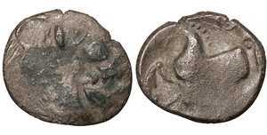 obverse image: EASTERN CELTS. 3rd-2nd century BC. Tetradrachm. Silver, 25,2 mm - 6.90 gr.  Kugelwange  type. O:\ Celticized laureate head of Zeus to right. R:\ Horse galloping left; above, circlet; below, cross. Flesche 615 var. Göbl OTA pl. 17, 193/3. Lanz 466. F+