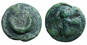 obverse image: Italy. Northern Apulia, Luceria. Cast AE reduced Semuncia, 217-212 BC. Obv. Crescent. Rev. Thyrsus with fillets. HN Italy 677 f. AE. g. 5.50 mm. 19.00 R. Rare. Emerald green patina. VF+