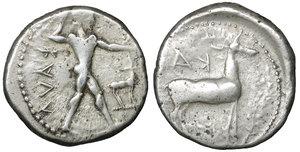 obverse image: BRUTTIUM, Kaulonia. 480-380 BC. Nomos. 21,6 mm, 8.00 gr,. Apollo advancing right, holding branch; to right, stag standing right; ΚΑΥΛ. R:\ Stag standing right. KA. Noe,C. 38.99 (R: same). HN Italy 2046. SNG Cop. 1709. Winterthur 484. Rare. VF \XF