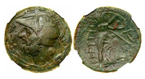 obverse image: Bruttium, The Bretti. Æ Didrachm (13.65 g), ca. 208-203 BC. Helmeted head of Ares left within wreath. Reverse: BPETTIΩN, Athena advancing right, head facing, holding shield, spear leaning against her; in right field, lyre. Scheu 59; HN Italy 2000. Pleasing dark green patina. NGC grade XF; Strike: 4/5, Surface: 5/5.