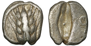obverse image: Lucania. Metapontion. 510-460 BC. Obol. AR 8mm - 0,79g. O:\ Barley-ear with four grains. R:\ Barleycorn incuse between two rings. Noe, Metapont I, 301. XF