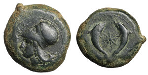obverse image: SICILY, Syracuse. Dionysios I, 405-367 BC. Drachm (Bronze, 32mm, 34.13 g 9). O:\ ΣYPA Head of Athena to left, wearing Corinthian helmet decorated with wreath. R:\. Sea-star between two dolphins. SNG ANS 455. SNG Lloyd 1452. Virzi 1422. EF