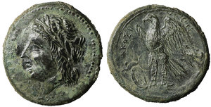 obverse image: Sicily. Syracuse. Hiketas 287-278 BC. Bronze Æ 23 mm - 9,85g. O:\ Laureate head of Zeus Hellanios left in dotted border. R:\/ [ΣYPA]KOΣI-[ΩN], eagle standing left on thunderbolt in linear border. CNS II, n. 159; SNG Copenhagen 785-787; SNG ANS 810. Great portrait. XF