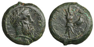 obverse image: Sicily, Syracuse Æ Hemidrachm. Time of Timoleon, circa 344-338 BC. 15.06 gr. - 24,8 mm. O:\ Laureate head of Zeus Eleutherios right, ZEΥΣ ΕΛΕΘΥΕPΙΟΣ around / Upright thunderbolt; eagle in right field; ΣYPAKOΣIΩN around. CNS II, p. 167, 72; SNG ANS 477-88. Attractive olive-green patina, Near Extremely Fine.