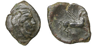 obverse image: Sicily. Kephaloidion. 400-200 BC. Bronze. Æ 14mm. - 1,53g. O:\ Head of Herakles right, wearing lion skin. R;\ Pegasos flying right. HGC 2, 654. VF\XF