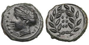 obverse image: Sicily. Himera. 420-407 BC. Hemilitron. Æ 17,4 mm - 4,62 gr. O:\ IME, head of nymph left, six pellets before. R:\ Six pellets within laurel wreath. Kraay, Bronze p. 31, 3; SNG ANS 186. Mint State. Dark Patina