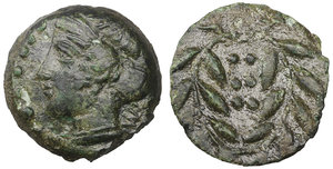 obverse image: Sicily. Himera. 420-407 BC. Hemilitron. Æ 13,7 mm - 2,87 gr. O:\ IME, head of nymph left, six pellets before. R:\ Six pellets within laurel wreath. Kraay, Bronze p. 31, 3; SNG ANS 186.VF\XF
