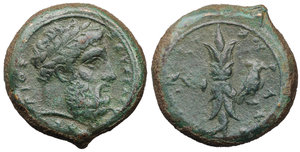 obverse image: Sicily, Syracuse Æ Hemidrachm. Time of Timoleon, circa 344-338 BC. 12.55 gr. - 23,3 mm. O:\ Laureate head of Zeus Eleutherios right, ZEΥΣ ΕΛΕΘΥΕPΙΟΣ around / Upright thunderbolt; eagle in right field; ΣYPAKOΣIΩN around. CNS II, p. 167, 72; SNG ANS 477-88. Attractive olive-green patina. XF\UNC