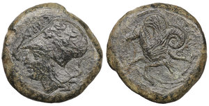 obverse image: SICILY, Syracuse. Circa 390 BC. Æ Litra. 7,03 gr. - 19,5 mm. O:\ ΣYΡA, helmeted head of Athena left, wearing necklace and Corinthian helmet decorated with an olive wreath; dolphins before and behind. R:\ Hippocamp left. SNG ANS 447; Calciati II pg. 87, 42; SNG Copenhagen 722; SNG Morcom 704; Favorito 11g; Laffaille 217; Virzi 1442. XF