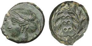 obverse image: Sicily. Himera. 420-407 BC. Hemilitron. Æ 16,5 mm - 4,10 gr. O:\ IME, head of nymph left, six pellets before. R:\ Six pellets within laurel wreath. Kraay, Bronze p. 31, 3; SNG ANS 186. XF\ UNC