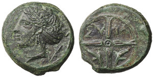 obverse image: Syracuse, Sicily, Second Democracy, 415–405 BC. AE Unit. 3,83 gr. - 15,6 mm. O:\ Head of Arethusa left, wearing earring, necklace and sphendone, dolphin behind head. R:\ ΣY-ΡA across upper fields of a four-spoked wheel, dolphin in each of the lower sections. CNS II, 19–23; Hoover HGC 1479; BMC 243-246; Sear Greece 1186; Mont 5094: S. ANS. 403. Rare. XF