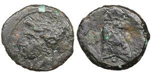 obverse image: Zeugitana. Carthage. AE19. 3rd century BC. Sardis mint. 3,90 gr. -  18,7 mm. O:\ Head of Tanit left, wreathed in corn. R:\ horsehead right. Sear #6524. VF