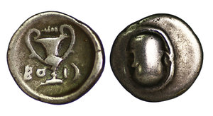 obverse image: Thebes. Boeotia. 379-371 BC. Ag Hemidrachm. Mint: Tespiae. O:\ Boeotian shield. R:\ Kantharos, club above. BO-I crescent flanking. 2.52 gr.-14,8 mm SNG Cop 177. VF+