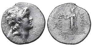 obverse image: Cappadocian Kingdom. Ariarathes VI. Epiphanes Philopator, 130 - 160 AD. Drachm. 3.85 gr. - 18.8 mm. Regnal year 12 = 119/118 AD. Eusebeia-Tyana. O:\ Diademed head righ. R:\ BAΣIΛEΩΣ / AΡIAΡAΘOΥ / EΠIΦANOΥΣ, Athena standing left, holding Nike & supporting shield & spear; ΔA monogram. IB in exergue. Simonetta S. 66 Nr.39. VF