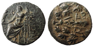 obverse image: Cilicia, Tarsos. After 164 BC. AE17. 4,1 gr. – 16,9 mm. O:\ TAΡΣEΩN, Zeus seated left, holding Nike in right hand, sceptre in left; star & crescent left. R:\ Club & MH-TPO within oak wreath. SNGvA 5979, SNGCop 346, BMC 9. SCARCE. XF