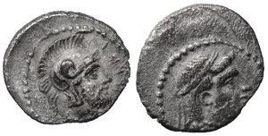 obverse image: CILICIA. Tarsos. Tarkumuwa (Datames), satrap of Cilicia and Cappadocia, 384-361/0 BC. Obol. 10 mm. 0,72 g. O:\ Diademed head of Aphrodite right. r:\ Helmeted head of Ares right. Göktürk S. 145, 25; SNG Paris 278. XF