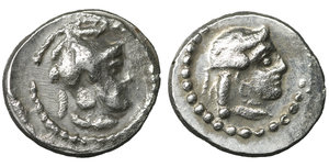 obverse image: Cilicia. Tarsos . Datames, Satrap of Cilicia and Cappadocia. 384-360 BC. Hemiobol. AR 6 mm. - 0,35g. O:\ Female head right. R:\ Helmeted and bearded head of Datames right. SNG Levante 82. R. Near Mint State