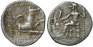 obverse image: Cilicia. Uncertain mint. 400-300 BC. Obol. AR 9 mm - 0,67g. O:\ Baaltars seated left, holding grain ear and grapes in his right and sceptre in his left hand, within pelleted square. R:\ Forepart of wolf right, crescent above, all in pelleted square. SNG Levante 223; SNG France 448. XF