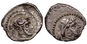 obverse image: Cilicia. Tarsos . Datames, Satrap of Cilicia and Cappadocia. 384-360 BC. Obol. AR 9 mm - 0,67 gr. O:\ Bust of Aphrodite to right, wearing tainia and necklace, drapery around her neck. R:\ TRKMW (in Aramaic), helmeted and bearded head of a warrior to right (Ares?), wearing crested Attic helmet, drapery around neck. Casabonne series 1; SNG France 278-281; SNG Levante 81; Göktürk 25. XF