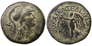 obverse image: Cilicia. Seleukeia ad Calycadnum. 200 BC-0 AD. AE23. 7.80 gr. - 23.3 mm. O:\ SA, helmeted head of Athena right, branch before chin. R:\ SELEUKEWN TWN PROS TWI KALUKADNWI around, NKI monogram and KAL in left field, Nike advancing left, holding wreath and palm branch. SNG France 2 903-904; Paris 892; Waddington 4443; SNG Cop 200. XF