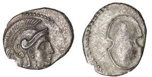 obverse image: CILICIA, Tarsos. Balakros, Satrap of Cilicia (333-323 BC). Obol. 0,7 gr. – 11,1 mm. O:\ Head of Athena right. R:\ Shield. SNG France 489a/b. XF. Rare