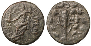 obverse image: Cilicia, Tarsos Æ18. Circa 164-27 BC. 3.45 gr. - 17.0 mm O:\ TAPΣEΩN, Zeus Nikephoros seated left, star and crescent in left field. R:\ Club tied with fillets, monograms flanking; all within oak wreath. SNG France 1362ff; SNG Levante 976; BMC 136. XF