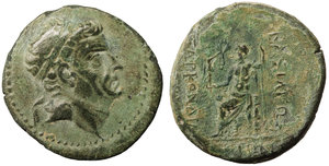 obverse image: Kingdom of Cilicia, Tarkondimotos I. 39-31 BC. AE22. 8.30 gr. - 22.7 mm. Uncertain mint in eastern Cilicia. O:\ Diademed head right. R:\ BAΣIΛEΩΣ /TAPKONΔIMO/TOY / ΦIΛANTΩNIOY, Zeus Nikephoros seated left. RPC 3871. Rare. UNC. Tarkondimotos was an ally first of Pompey, then of Caesarand later of Marc Antony, to whom the title ΦIΛANTΩNIOY (
