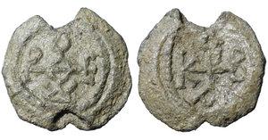 obverse image: BYZANTINE LEAD SEALS. 9,05 gr. - 23,4 mm. Circa 6th century. O:\ Cruciform monogram R:\ Cruciform monogram. VF/EF