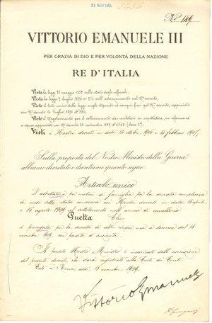 D/ Roma. 1909. Documento ministeriale con firma autografa di Vittorio Emanuele III di Savoia. Re d'Italia.