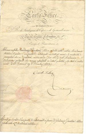 D/ Torino. 1827. Manoscritto con firma autografa di Carlo Felice Re di Sardegna. Documento di promozione a luogotenente.