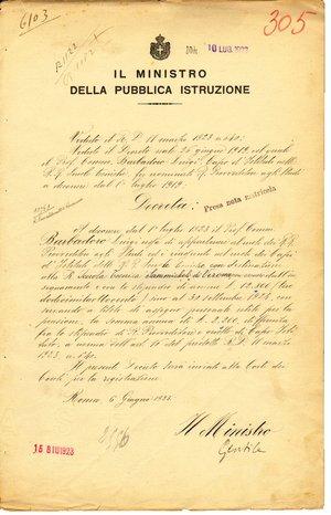 D/ Roma. 1923. Documento ministeriale con firma Autografa del Ministro dell'istruzione Giovanni Gentile. Importante filosofo e politico.