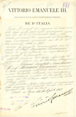 D/ Roma - Agosto 1919. Documento con firma autografa del Re d'Italia Vittorio Emanuele III. Vittorio Emanuele III, al secolo Vittorio Emanuele Ferdinando Maria Gennaro di Savoia (Napoli, 11 novembre 1869 – Alessandria d'Egitto, 28 dicembre 1947), fu re d'Italia dal 1900 al 1946, imperatore d'Etiopia dal 1936 al 1943 e re d'Albania dal 1939 al 1943. Abdicò il 9 maggio 1946 e gli succedette il figlio Umberto II.