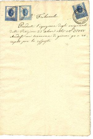 D/ REGNO LOMBARDO VENETO. Venezia. 23-11-1865. Documento del Regio Tribunale reso bollato da 3 marche di transizione: Seconda serie litografica 1867. Lire 0,62 – Fiorini 0,25 (R); Lire 0,25 – Fiorini 0,10; Lire 0,02 – Fiorini 0,01. Dimensioni: 20,5 Cm X 30,5 Cm