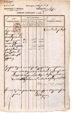 D/ REGNO LOMBARDO VENETO. Brescia - Nave. 30 Luglio 1859. Documento del comune di Nave con marca da 30 Kr. su carta bianca. Dimensioni: 20 Cm X 35 Cm