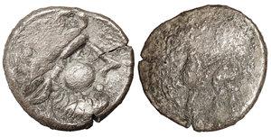 obverse image: EASTERN CELTS. 3rd-2nd century BC. Tetradrachm. Silver, 26,00 mm - 10.10 gr.  Kugelwange  type. O:\ Celticized laureate head of Zeus to right. R:\ Horse galloping left; above, circlet; below, cross. Flesche 615 var. Göbl OTA pl. 17, 193/3. Lanz 466. F+